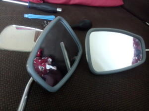Replaced 2CV wing mirror beading