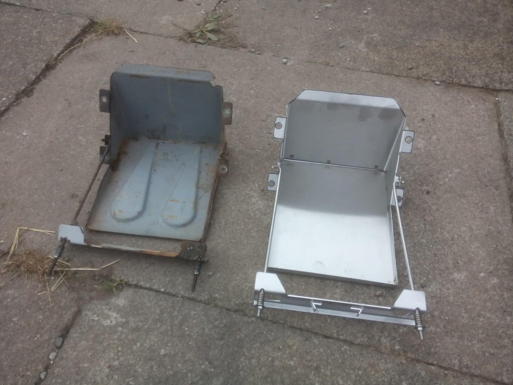 Stainless and original 2CV battery trays