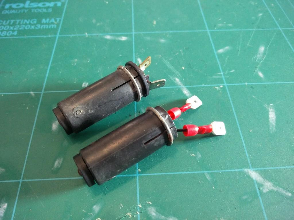 Side comparison of original and LED 2CV dashboard indicator LEDs