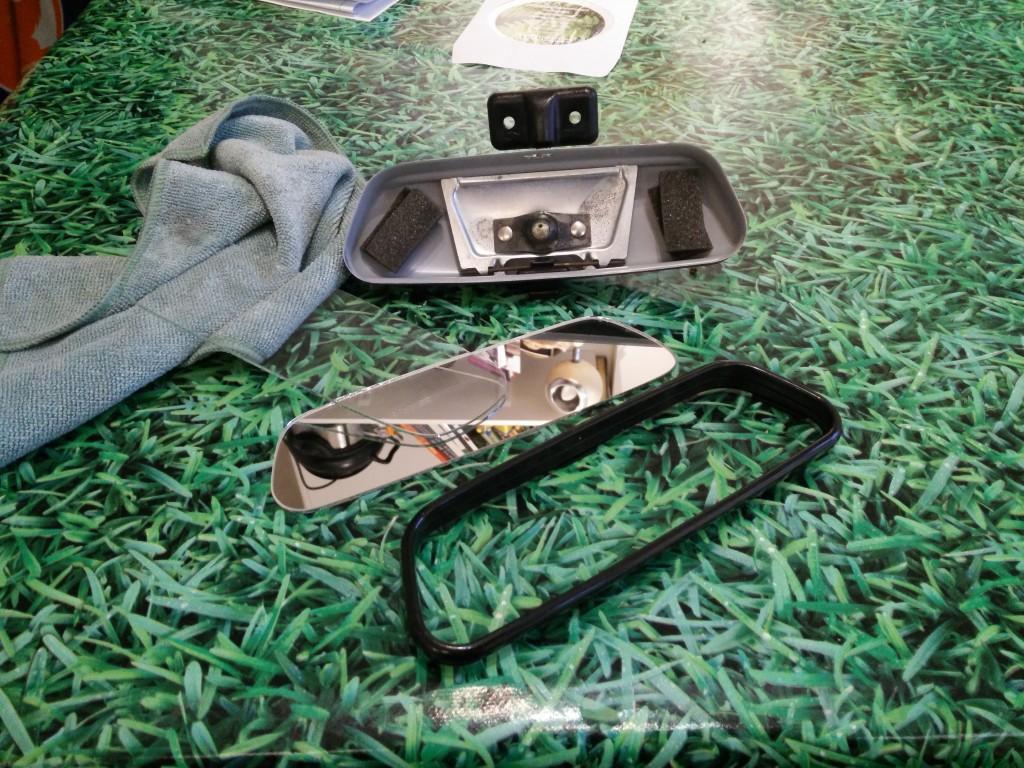 2CV rear view mirror dismantled