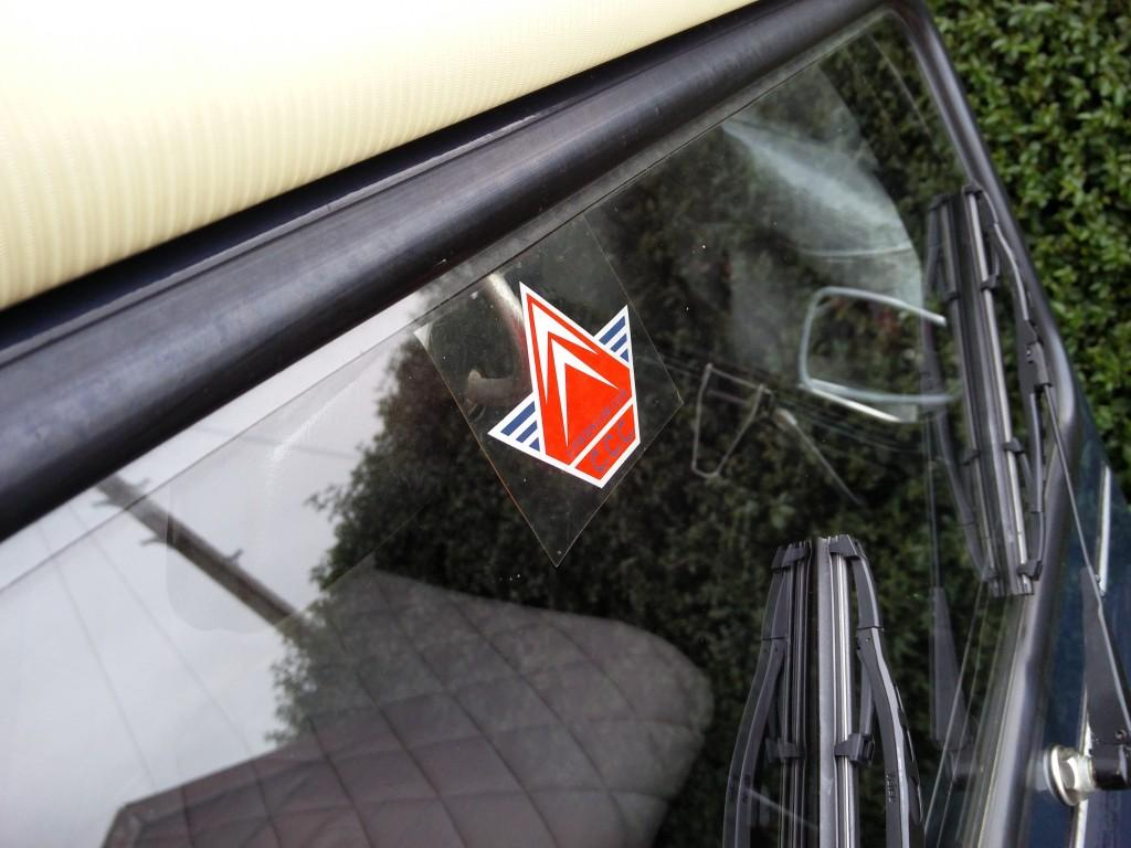 Citroen Car Club sticker in 2CV windscreen
