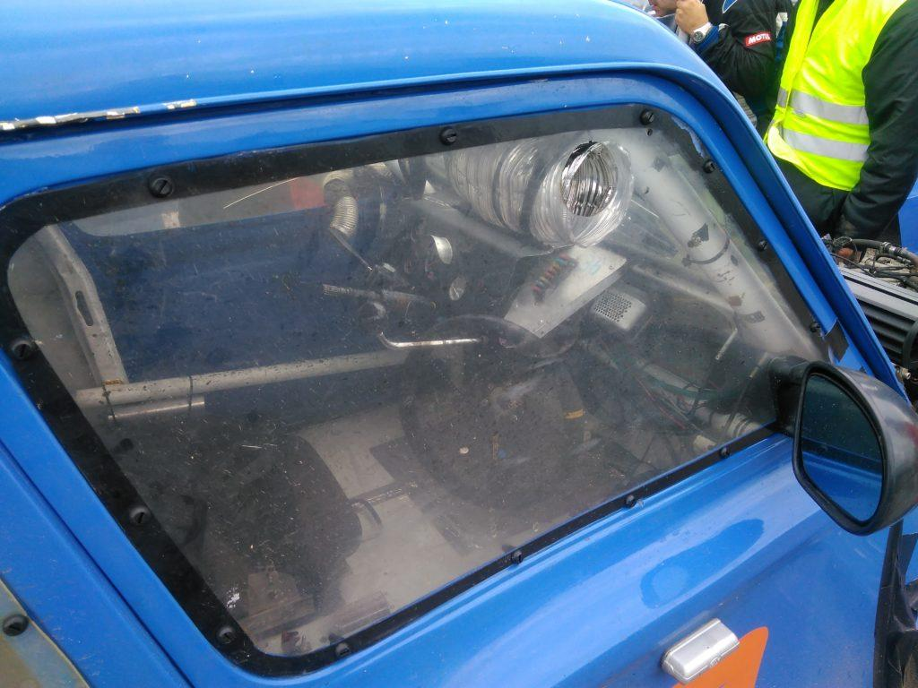 Dyane door and dash items on a 2CV hybrid racer