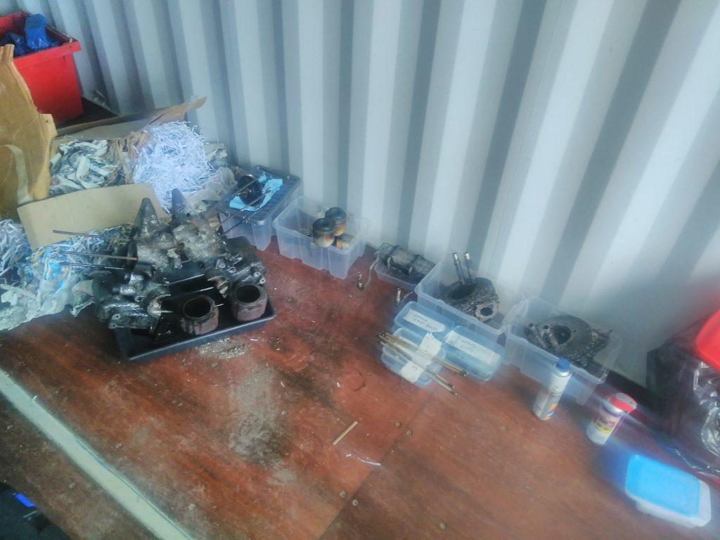 2CV engine parts boxed up afer strip down.