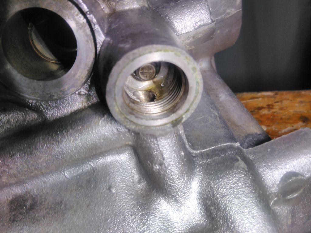 2CV oil pressure relief valve plunger in situ