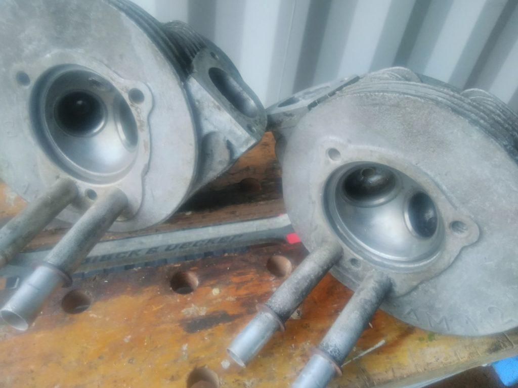 2CV cylinder heads showing combustion chamber and push-rod tubes