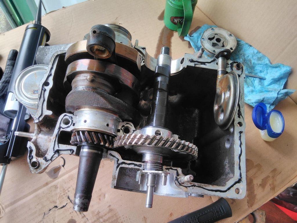 2CV crank case before mating