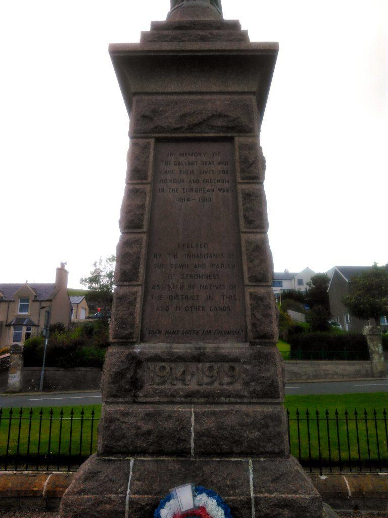 Stromness War Memorial - east face