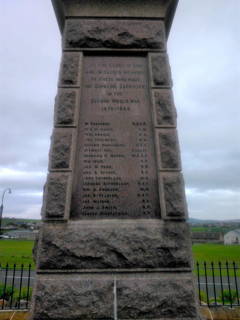 Stromness War Memorial - west face