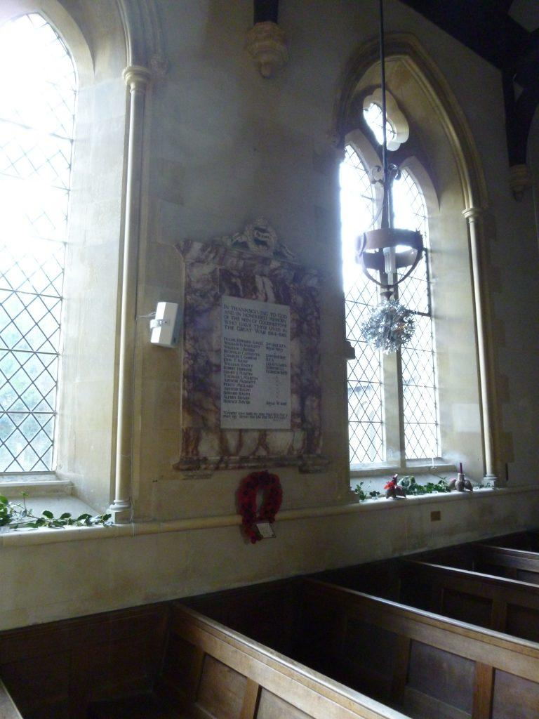 Goodenstone War Memorial in the church