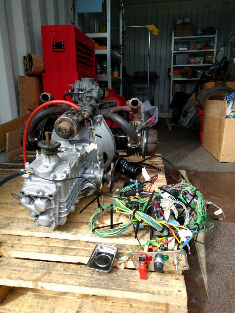 2CV engine, gearbox and wiring loom