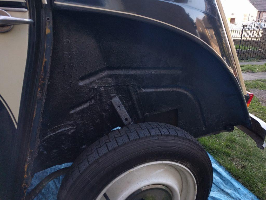Undersealed 2CV off side wheel arch