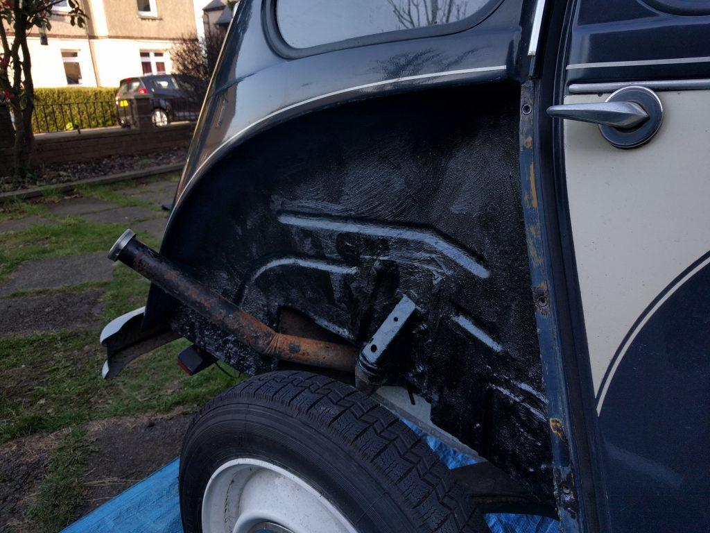 Undersealed 2CV near side wheel arch