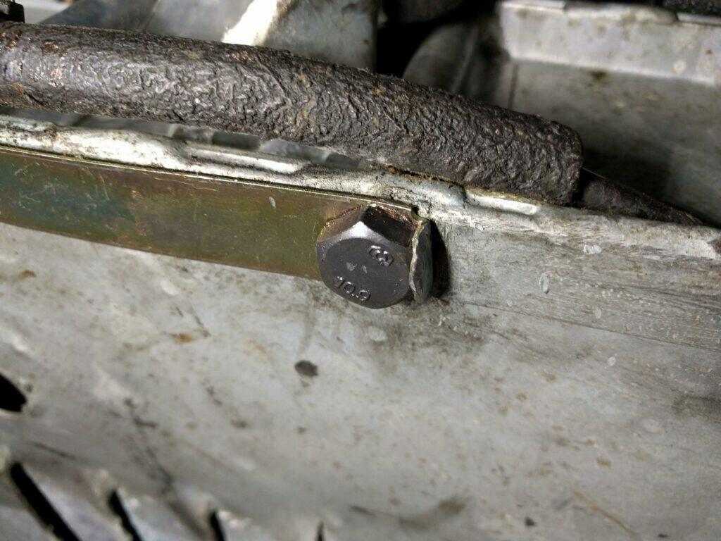 2CV axle bolt with bent lock washer