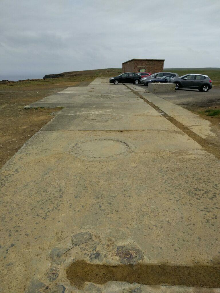 Yesnaby carpark showing AA gun mounting points