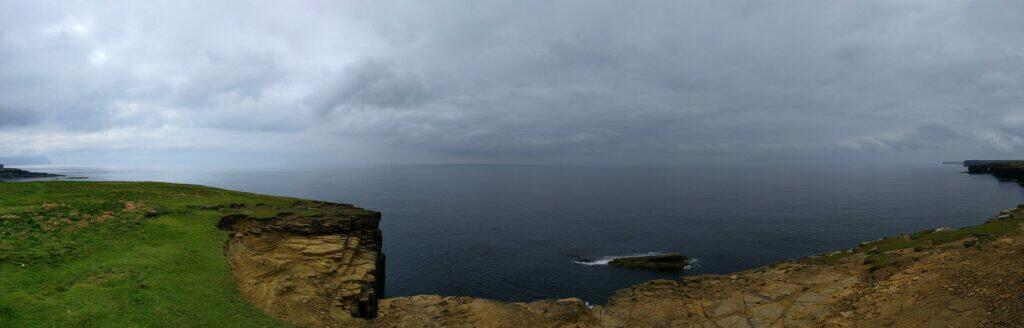 Panorama from Brough of Bigging showing Hoy to Marwick Head