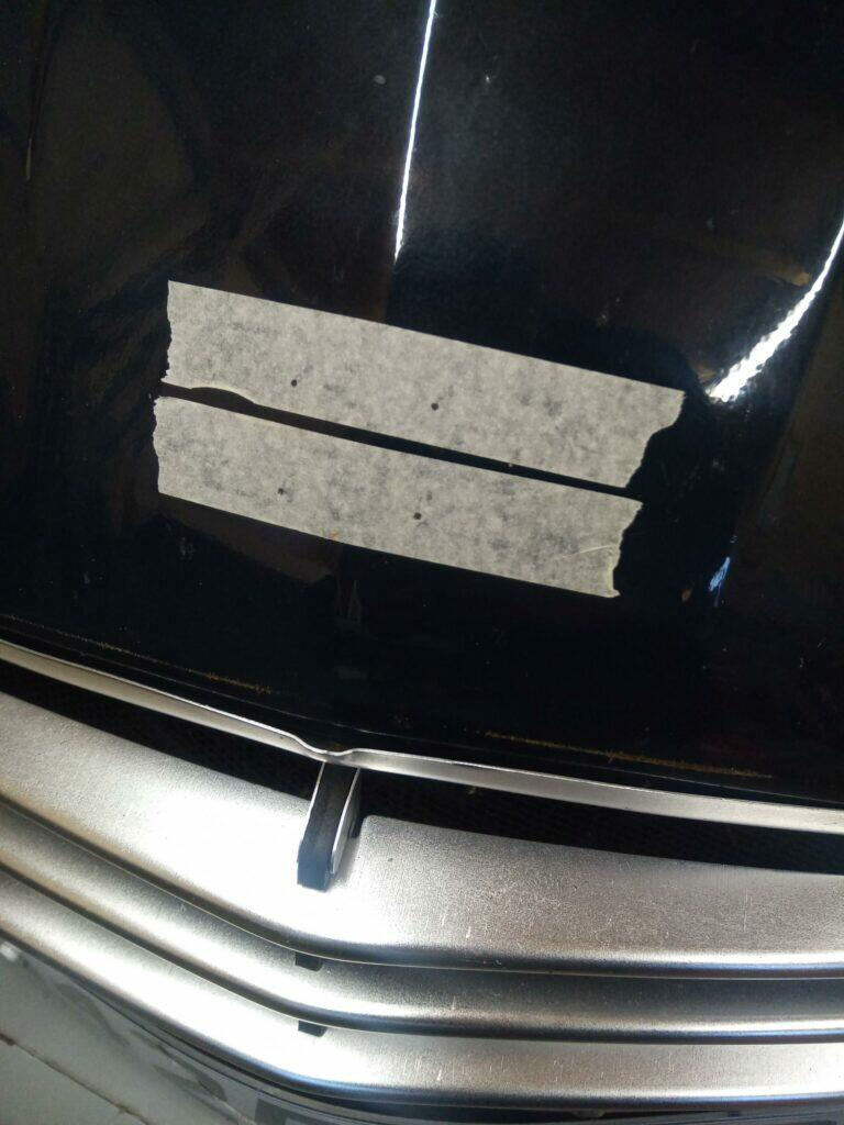 Drilling marks for chevrons on a 2CV bonnet